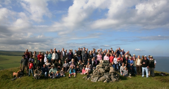 The gathering around Neil MacLachlan's memorial cairn