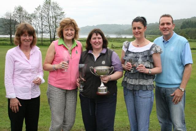 26 June 2011: (l to r) Lady Captain Rona Young, sponsor and runner-up Rae Bleasby, winner Fiona McGlynn, 3rd prizewinner Janeann Reppke, sponsor Steve Bleasby