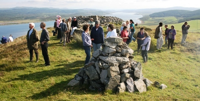 In foreground, the cairn erected in memory of Flt Lt Neil Duncan MacLachlan