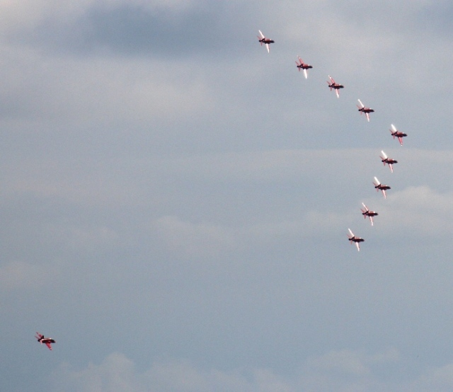 The formation banks as one, as Red 10 prepares to rejoin for the onward flight to Prestwick