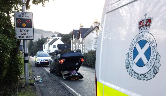 Emergency services in attendance at this afternoon's road accident