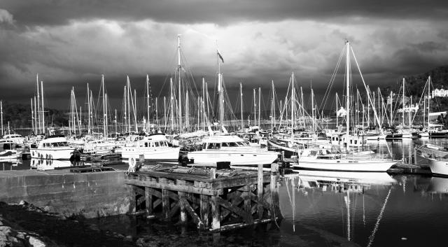 Tarbert Harbour, Loch Fyne: Yachts on the pontoons