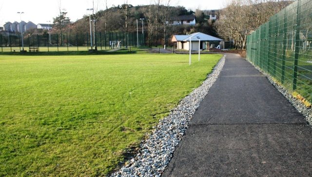 The new path offers safe access to the playpark (right) and the football pavilion (centre)