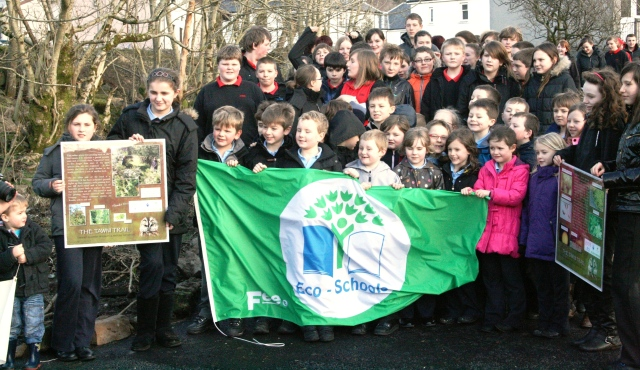 Tarbert Academy display the school's Green Flag alongside two of the new interpretation panels