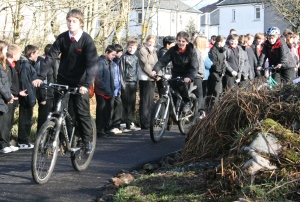 Academy pupils show their cycling skills on the newly-opened path